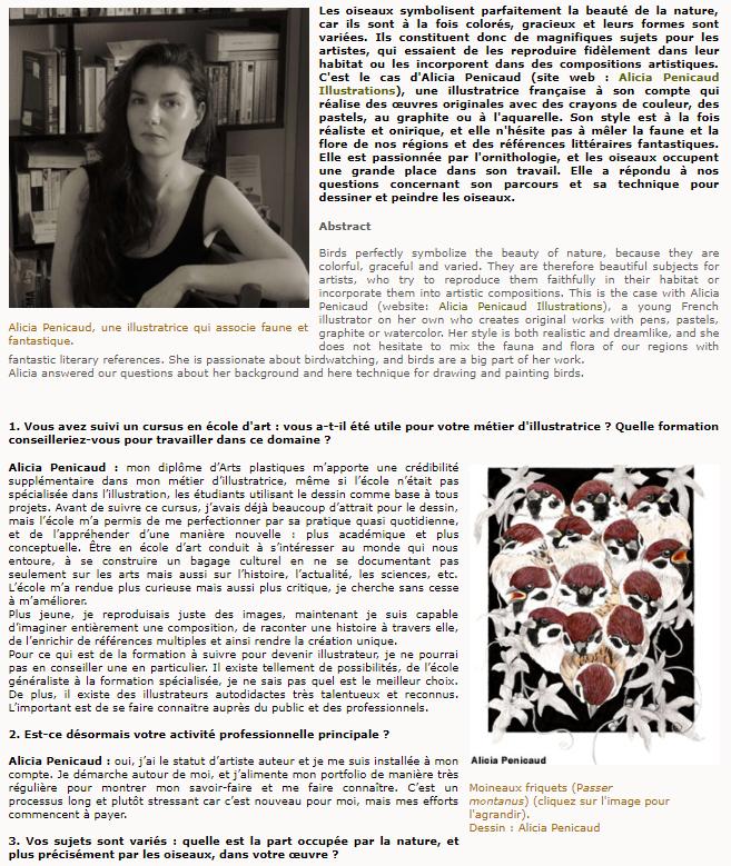 ornithomedia Interview Alicia Penicaud