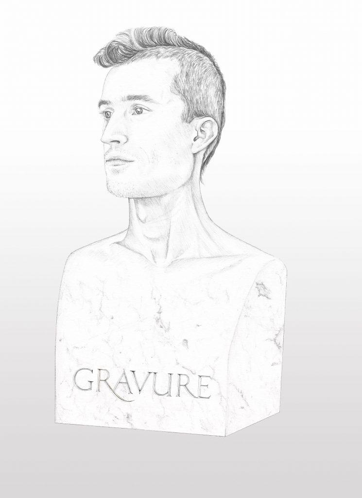 portrait réaliste dessiné, graphite et colorisation numérique. Illustration portrait d'homme