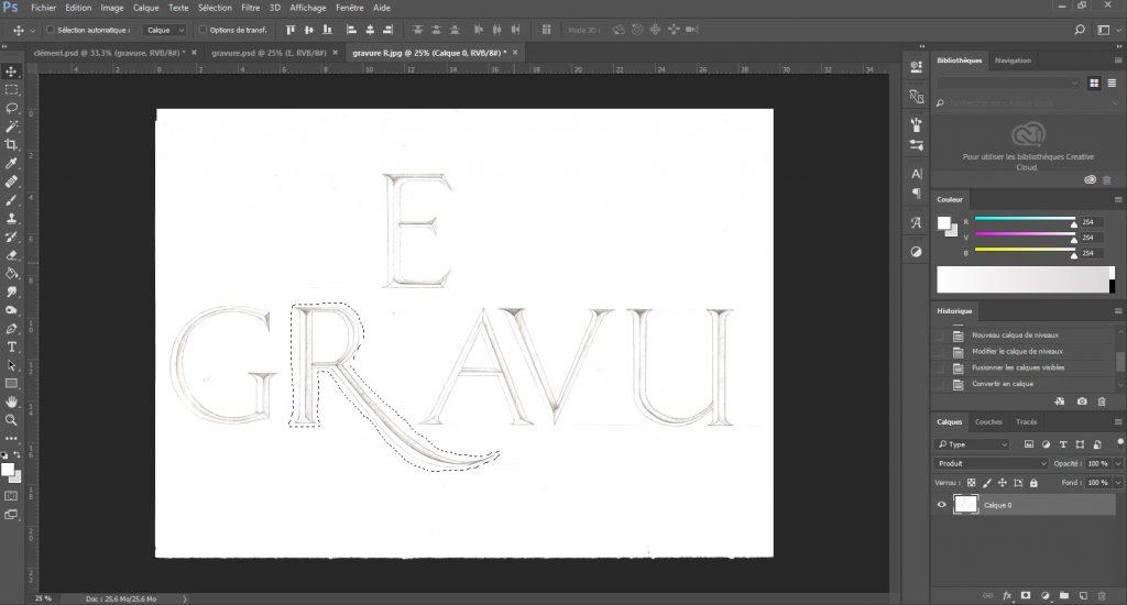 Tracé du nom Gravure sous photoshop