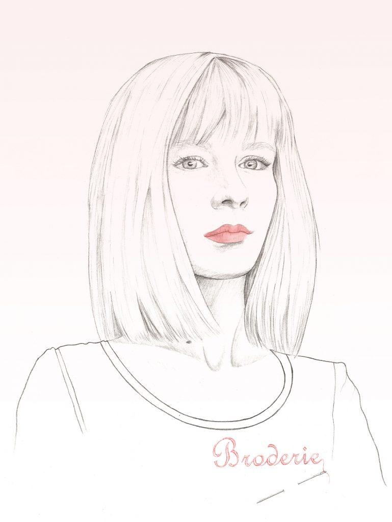 Illustration portrait dessiné, graphite et colorisation numérique, portrait de femme