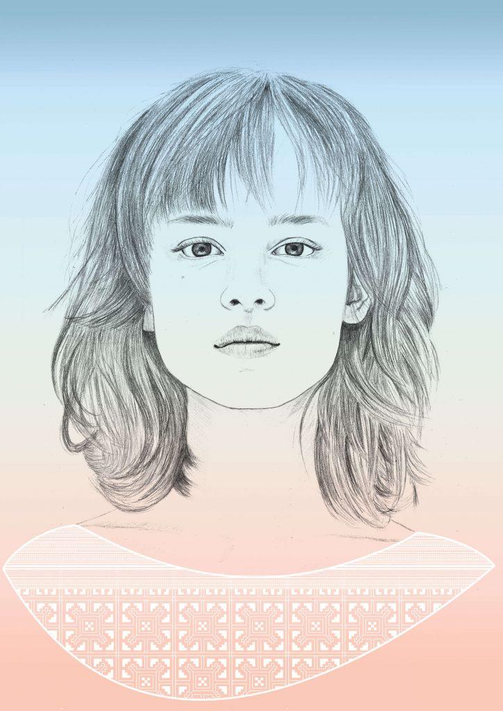 Portrait dessiné, graphite, colorisation numérique et création de motif d'inspiration Hmong.  Gabrielle Rul, illustration portrait de femme, illustration mode, illustration beauté