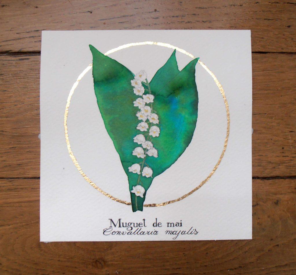 Illustration naturaliste botanique à l'aquarelle, muguet de mai