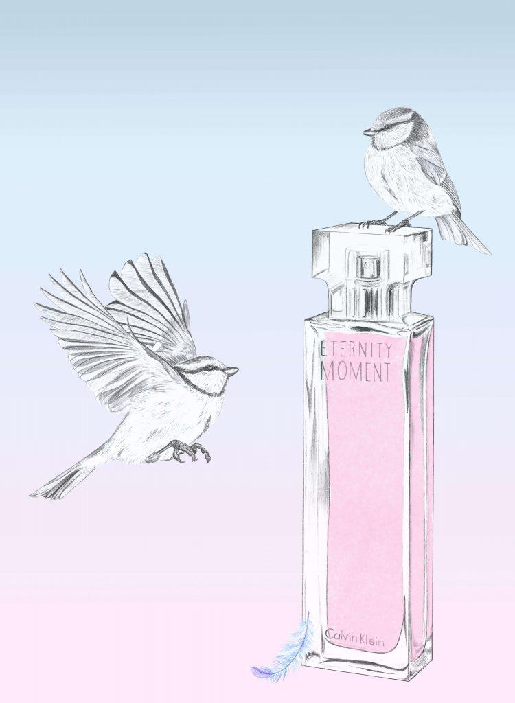 illustration luxe du flacon de parfum Calvin Klein, Eternity Moment.