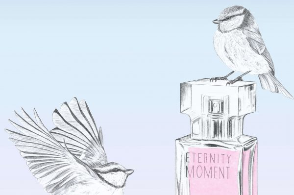 Illustration animée d'un flacon de parfum
