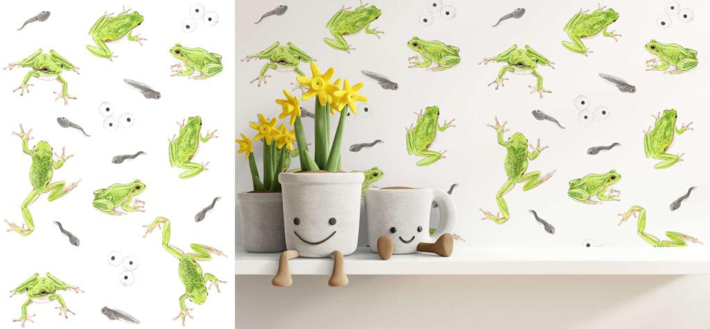 Illustration animalière naturaliste rainettes vertes et têtards grenouilles, motif, pattern design, création de motifs, papier-peint grenouille