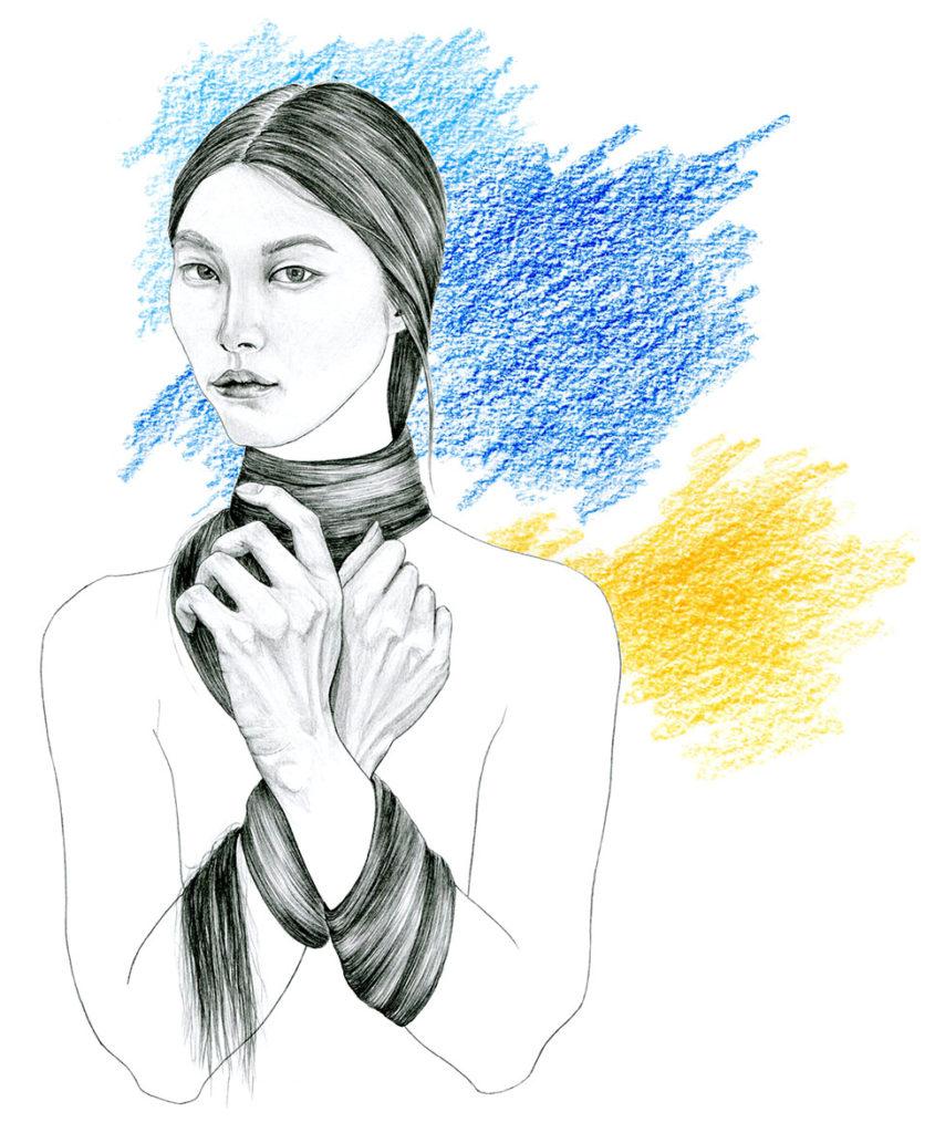 portrait dessiné, portrait au crayon, illustration de mode, fashion illustration, illustration beauté, création originale Alicia Pénicaud Illustrations
